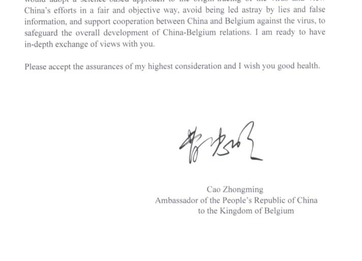 Chinese ambassadeur stuurt boze brief naar Theo Francken die onafhankelijk onderzoek naar coronavirus eist