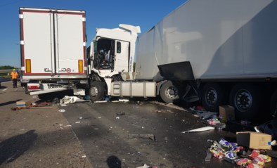 Eén dode en één zwaargewonde bij ongeval met vier vrachtwagens op E17