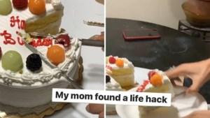 """Vrouw deelt trucje van mama om taart aan te snijden en het internet reageert dolenthousiast: """"Je moeder leeft in 2050!"""""""