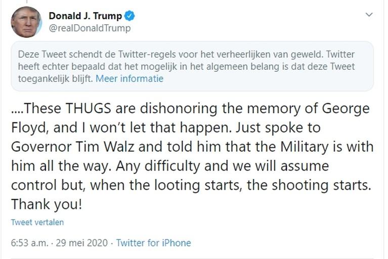 """De oorlog tussen Trump en Twitter: tweet van president verborgen voor """"verheerlijken van geweld"""""""