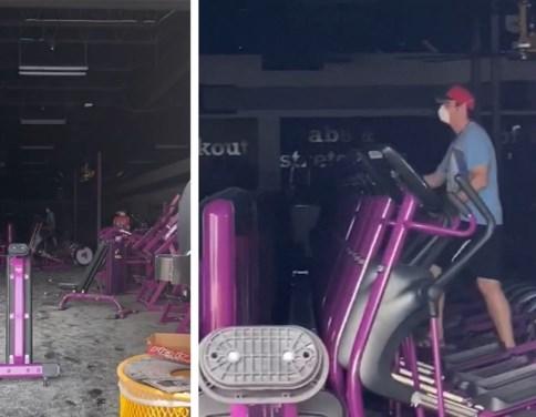 Man gaat op z'n gemak sporten midden in door betogers verwoeste fitnessruimte