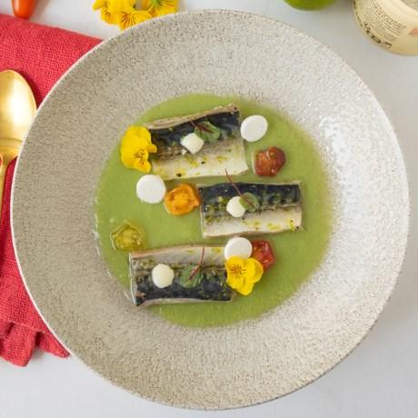 Hap en tap. Gebrande makreel met gazpacho van groene tomaat