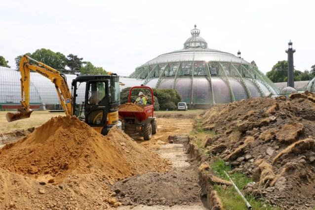 Brussels afval houdt de koning warm deze winter, al is zijn tuin daarom tijdelijk herschapen tot een werf