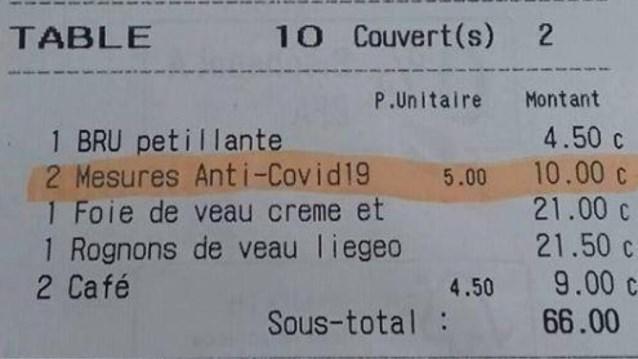 """""""Coronatoelage"""" op rekening in restaurant: vijf euro per persoon"""
