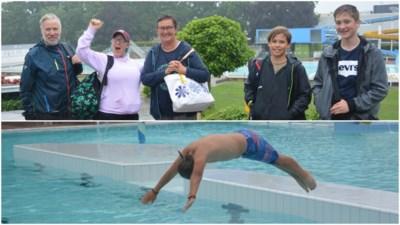 Snertweer houdt zwemmers niet tegen: eindelijk weer plonsen in buitenbad De Warande