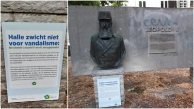 Halle 'zwicht niet voor vandalisme' en plaatst gecontesteerde buste van Leopold II terug in het park
