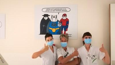 De Kat van Philippe Geluck bedankt ziekenhuispersoneel