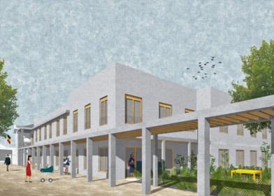 Oud gemeentehuis  geïntegreerd in nieuwbouw