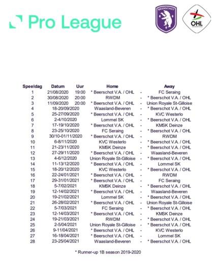 OVERZICHT. Bekijk hier de kalender van jouw favoriete voetbalclub voor het seizoen 2020-2021