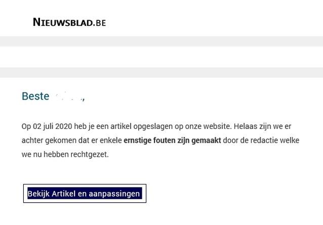 Frauduleuze mails verstuurd in naam van 'Het Nieuwsblad'