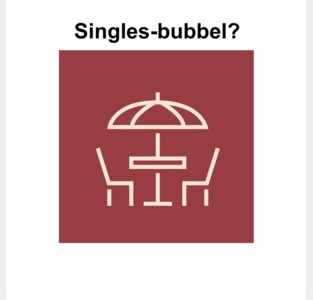 Een tafel voor singles op het coronaterras?