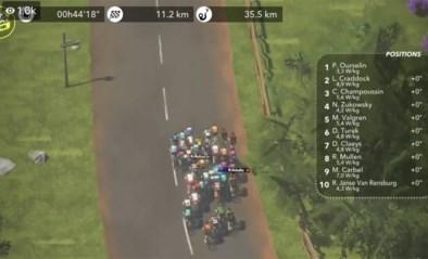 Australische specialist Freddy Ovett wint vijfde rit in virtuele Tour, Valgren blijft leider
