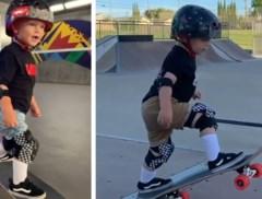 "Dit is ""Tiny Hawk"": tweejarige peuter gaat viraal met skateboardskills"