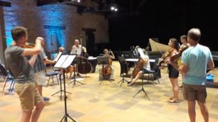 Muzikanten spelen barokmuziek zonder koor en met plexiglas