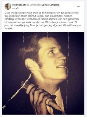 Dubbele klap voor Helmut Lotti: vader en tante verloren in één week tijd