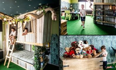 Felix (8) en Seppe (4) spelen in hun droomslaapkamer tussen slingerende aapjes en zachtaardige boa's