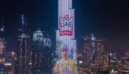 Tourwinnaar Pogacar staat te blinken op de Burj Khalifa in Dubai