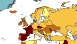België kleurt rood op de kaart en hoort zo bij vijf zwaarst getroffen landen van Europa
