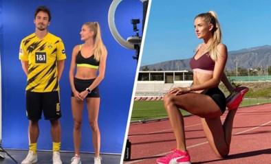 """Dortmund-Belgen krijgen bezoek van """"de meest sexy atlete ter wereld"""", kapitein Mats Hummels ziet af op de piste"""