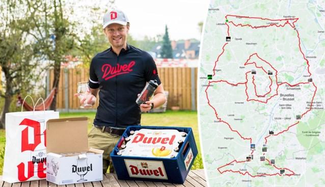 Duvel-fan fietst Duvel-glas (met logo én schuimkraag) bij elkaar op Strava en krijgt passende beloning