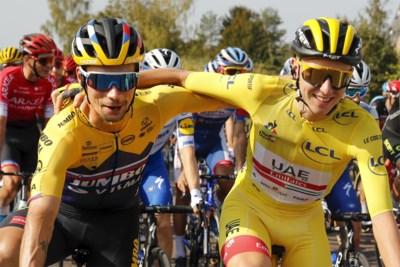 """Tourrivalen Tadej Pogacar en Primoz Roglic gaan in Imola samen voor goud op WK: """"Wie wereldtitel pakt, is niet belangrijk. Als Slovenië maar wint"""""""