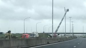 E40 in Nieuwpoort urenlang afgesloten door stormschade aan verlichtingspaal