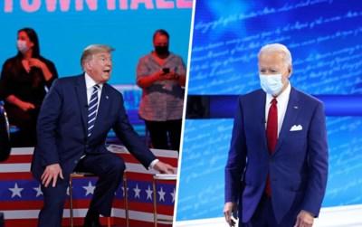 Gelijktijdig vragenuur live op tv toont de kloof tussen het Amerika van Trump en van Biden: alsof ze in een andere realiteit leven