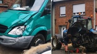 Tractorwiel breekt af en botst tegen vrachtwagen