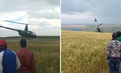 Omstanders zien hoe het helemaal misloopt wanneer helikopter opstijgt, politicus ontsnapt aan het ergste