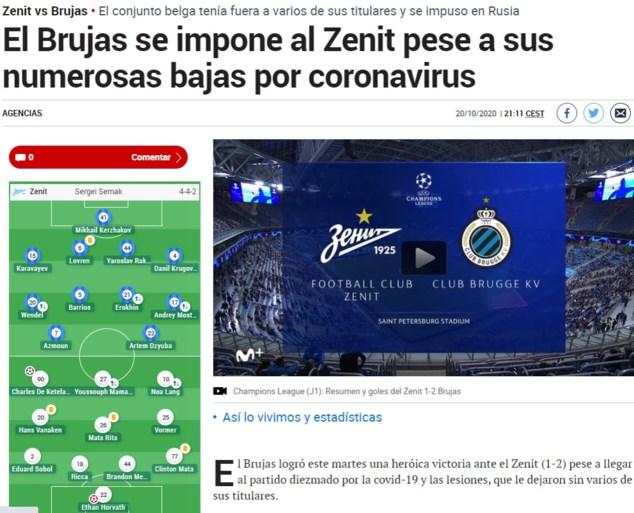 """Buitenlandse pers ziet """"heroïsche zege van Club Brugge"""", Russen zijn eerlijk: """"Over 90 minuten was het verdiend"""""""
