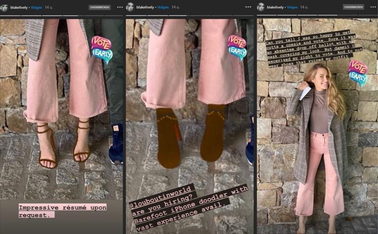 Blake Lively trekt bijzondere 'schoenen' aan om haar stem uit te brengen