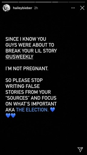 Hailey Bieber reageert uitzonderlijk op zwangerschapsgeruchten