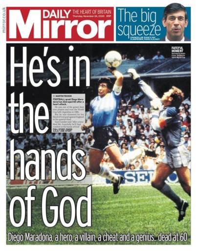 """Britse tabloid gaat uit de bocht na dood Maradona, Rode Duivels halen voorpagina van kwaliteitskrant: wereldpers eert """"legende"""""""