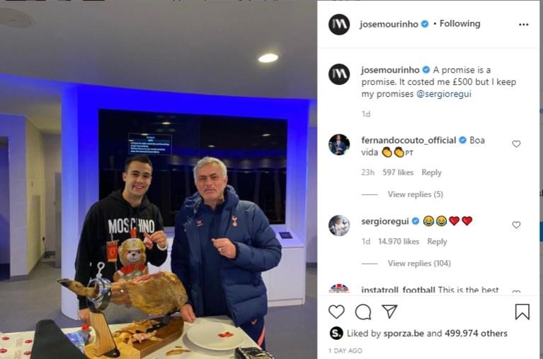 Belofte maakt schuld: Mourinho trakteert speler op peperdure serranoham na verloren weddenschap