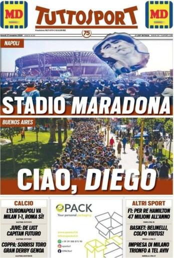 Niet te missen beelden voor de eeuwigheid: fans van Napoli zetten stadion in vuur en vlam ter ere van Diego Maradona