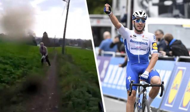 """Florian Sénéchal (Deceuninck - Quick-Step) zorgt voor doodsangsten bij wandelaarster tijdens razendsnelle afdaling: """"Sorry!"""""""