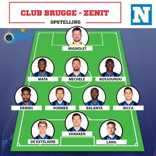 Geen Simon Deli aan de aftrap bij Club Brugge, woelwater Dennis krijgt een nieuwe kans tegen Zenit