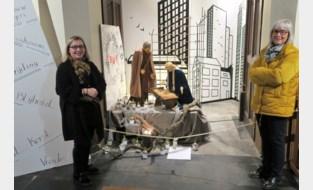 Ecologische stal met flatgebouwen als achtergronddecor in Sint-Cordulakerk