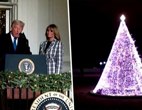 """Donald Trump en Melania steken lichtjes van nationale kerstboom aan: """"Het is heel speciaal"""""""
