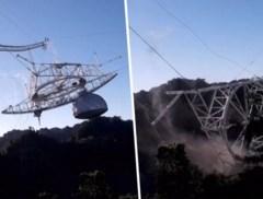 Moment dat reusachtige 'James Bond'-telescoop instort op camera vastgelegd
