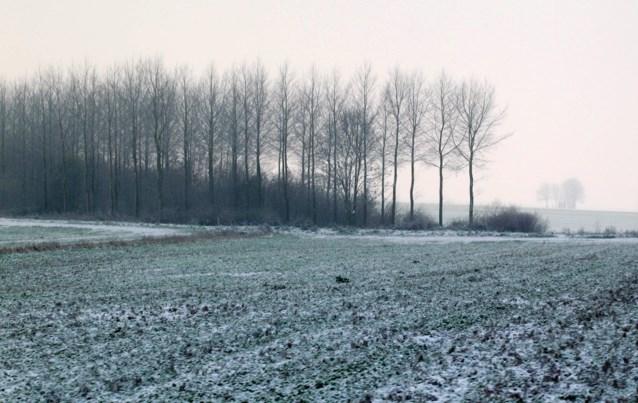 Weerbericht. Zwaarbewolkt met regen, sneeuw in Ardennen