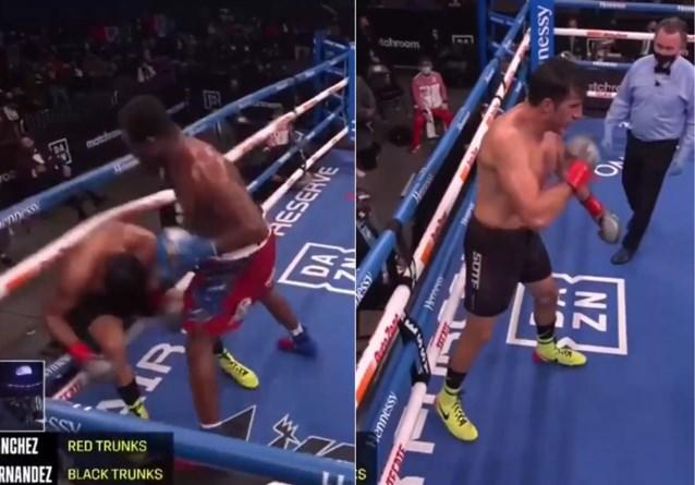 Bokser daagt tegenstander in complete 'Rocky-stijl' uit, maar wordt dan snoeihard door de touwen geklopt