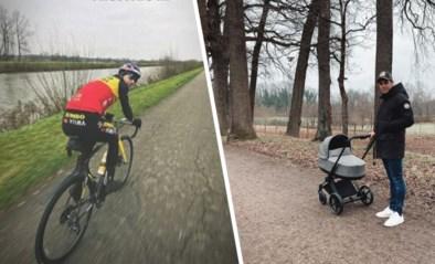 Wout van Aert zit niet stil na Belgische titel: champagne, eerste ritje in tricolore trui en op stap met baby Georges