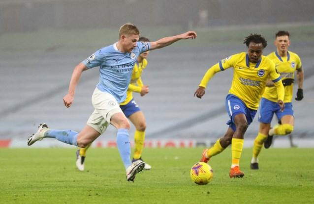 Manchester City klopt Leandro Trossard (en Percy Tau) dankzij 75ste assist van Kevin De Bruyne in Premier League