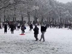 Honderden jongeren verzamelen voor massaal sneeuwbalgevecht in Engeland, ondanks strenge coronamaatregelen