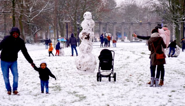 FOTO. Sleeën, sneeuwmannen en zelfs een echte iglo: op wandeling door de Gentse sneeuw
