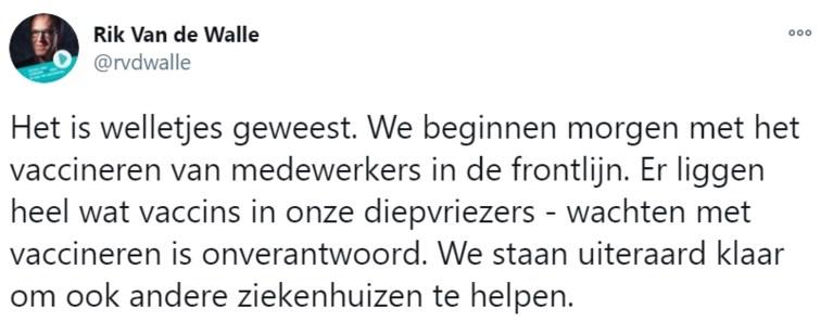 """""""Langer wachten is onverantwoord"""": UZ Gent start met vaccineren van eigen personeel"""