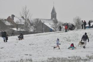 Sneeuwpret op heuvel in Zandvoorde