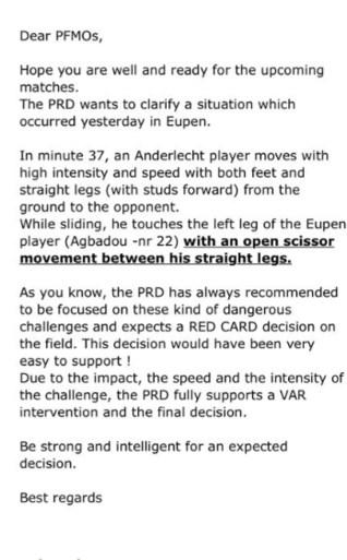 """Referee Department aan refs in WhatsApp-bericht na rode kaart van Kemar Lawrence: """"Beslissing was makkelijk te verdedigen"""""""