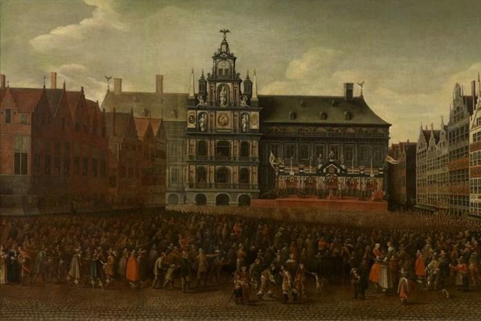 Schilderij dat restauraties Antwerpse Grote Markt mogelijk maakt zelf gerestaureerd, met dank aan een anonieme mecenas